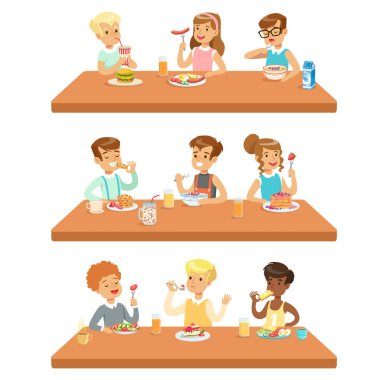Kids Eating Brekfast And Lunch Food And Drinking Soft Drinks Set Of Cartoon Characters Enjoying Their Meal Sitting At The Table. Cute Children And Meals They Eat Vector Illustrations In Childish stock vector