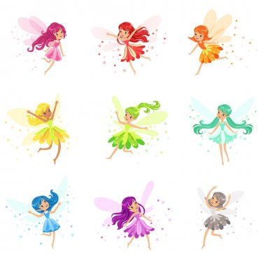 Colorful Rainbow Set Of Cute Girly Fairies With Winds And Long Hair Dancing Surrounded By Sparks And Stars In Pretty Dresses. Kids Fairy-tale Characters Fantasy Female Pixie Adorable Vector stock vector