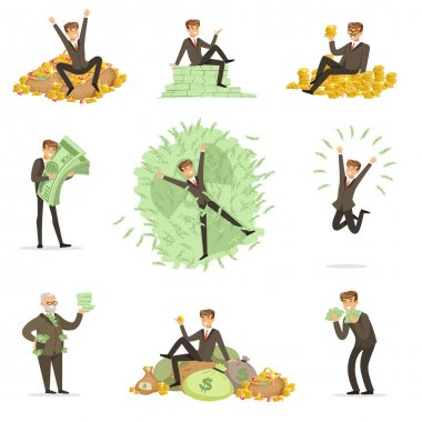Very Rich Man Bathing In His Money, Happy Millionaire Magnate Male Character Series Of Illustrations. Banker And HIs Riches In Paper And Coins Life Situations. stock vector