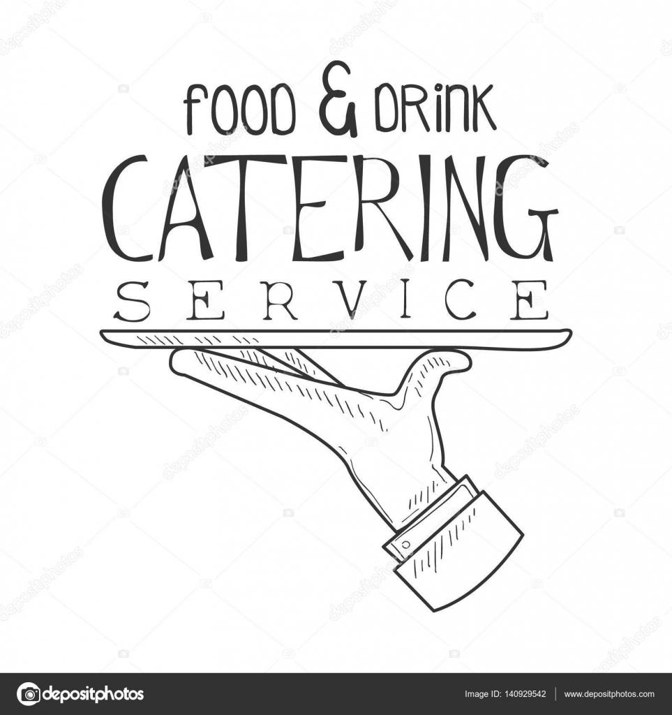Bestes Catering Service Handzeichen mit Kellner Hand gezeichneten ...
