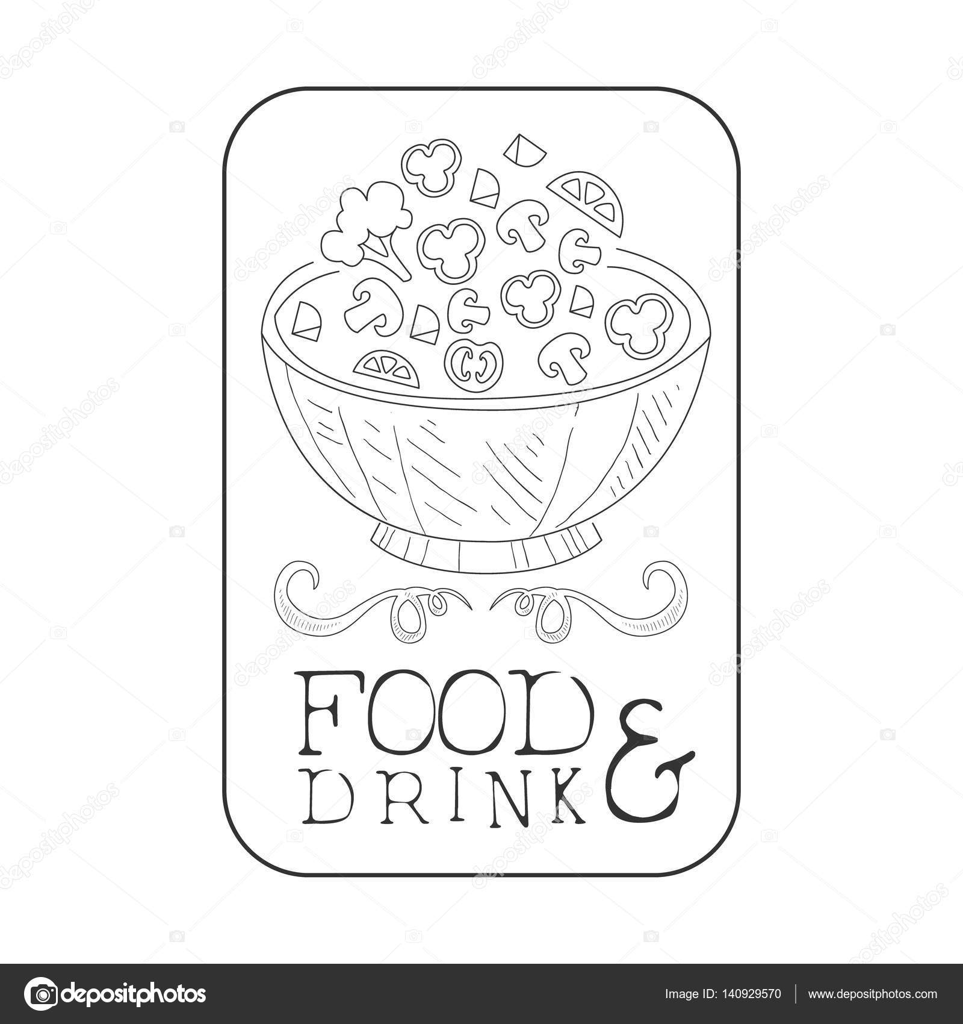 Bestes Catering Service Hand Gezeichneten Schwarz Weiß Zeichen In