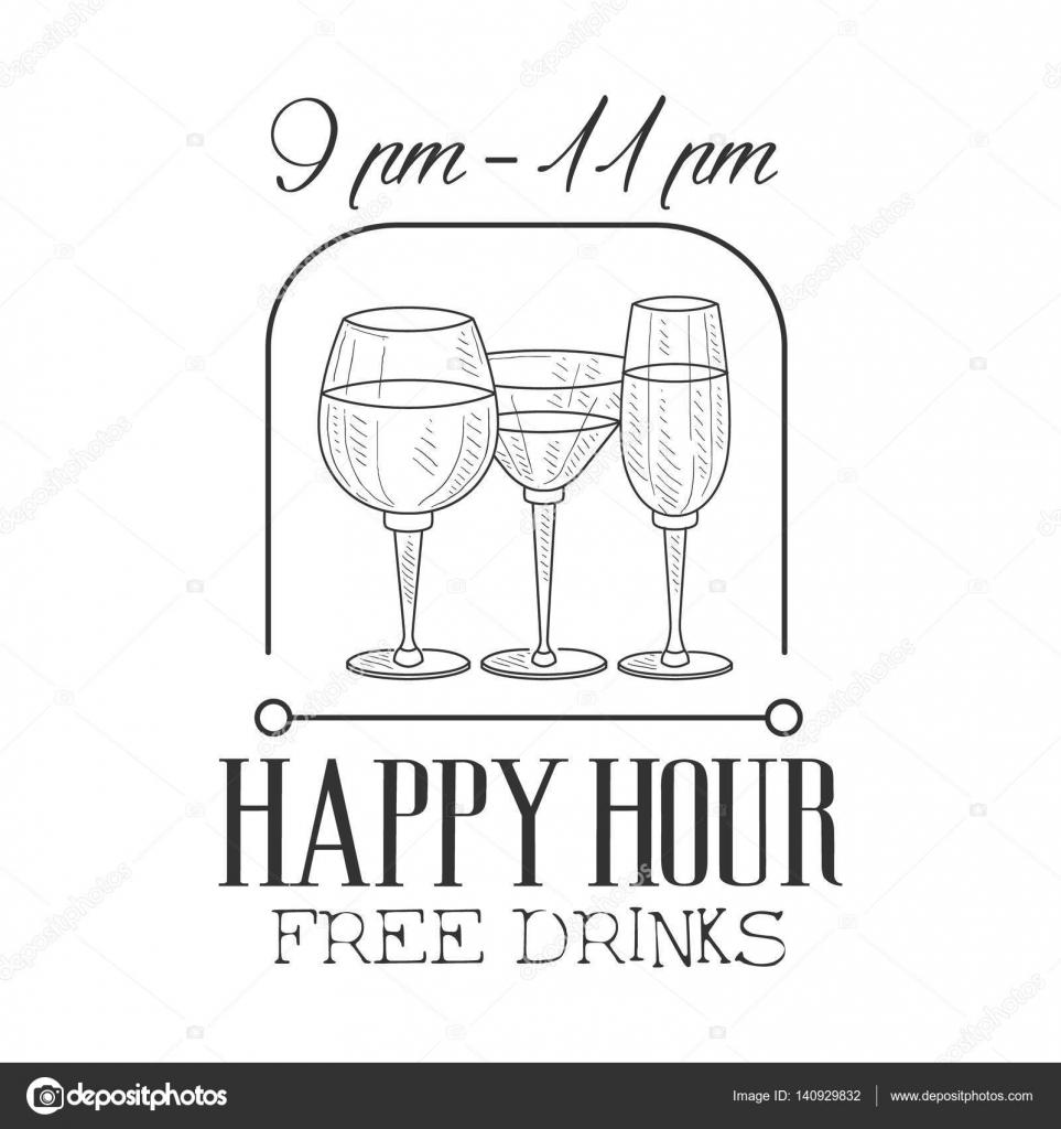 Bar Happy Hour Promotion Design Zeichen Vorlage gezeichnet Hipster ...