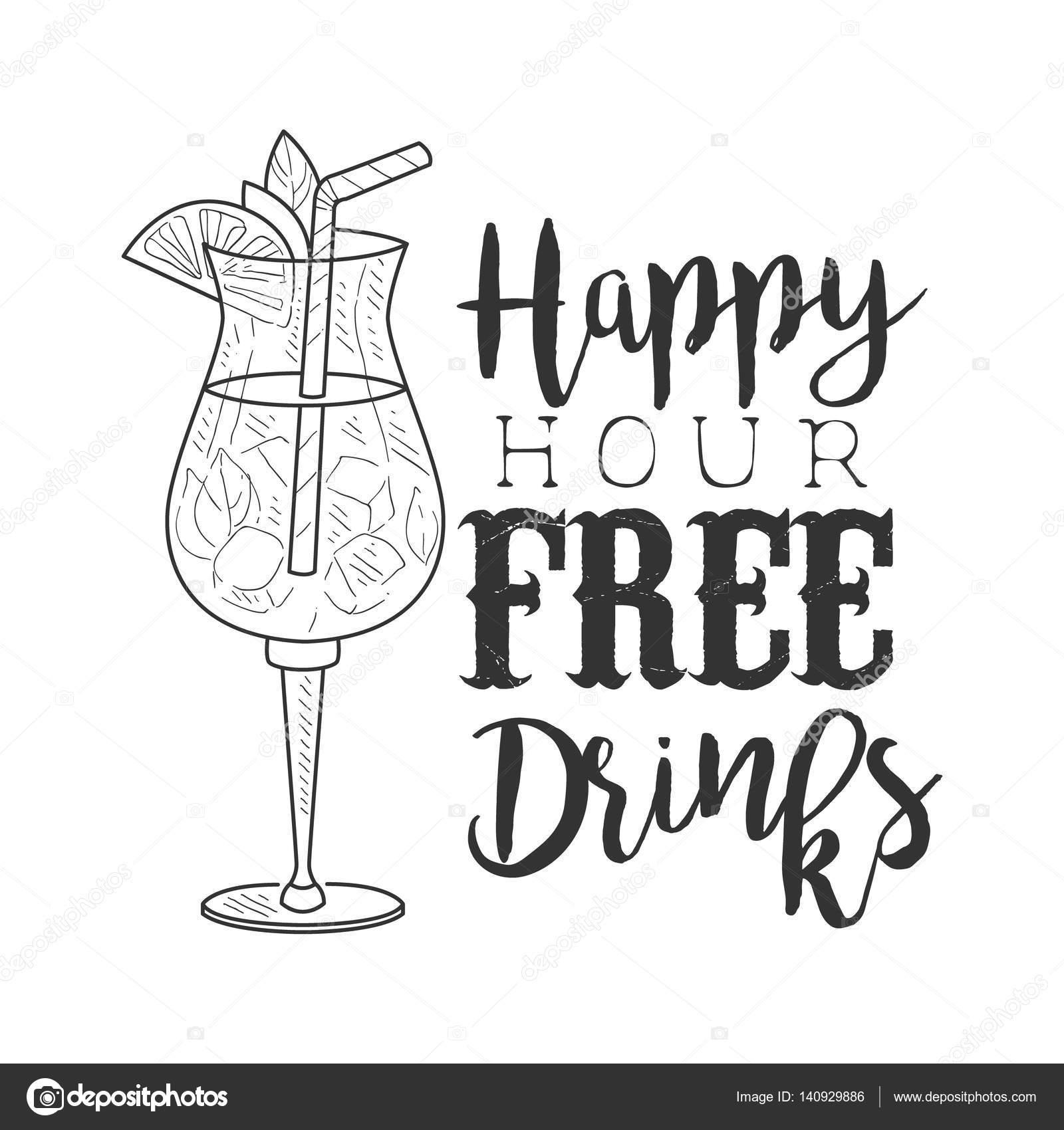 Bar Happy Hour promoção sinal desenha modelo mão desenhada Hipster ...