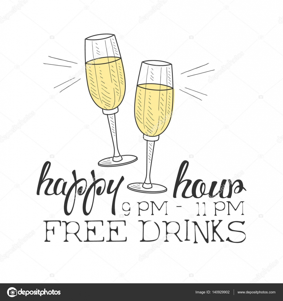 Bar Happy Hour Promotion Sign Design Template Hand Drawn Hipster ...