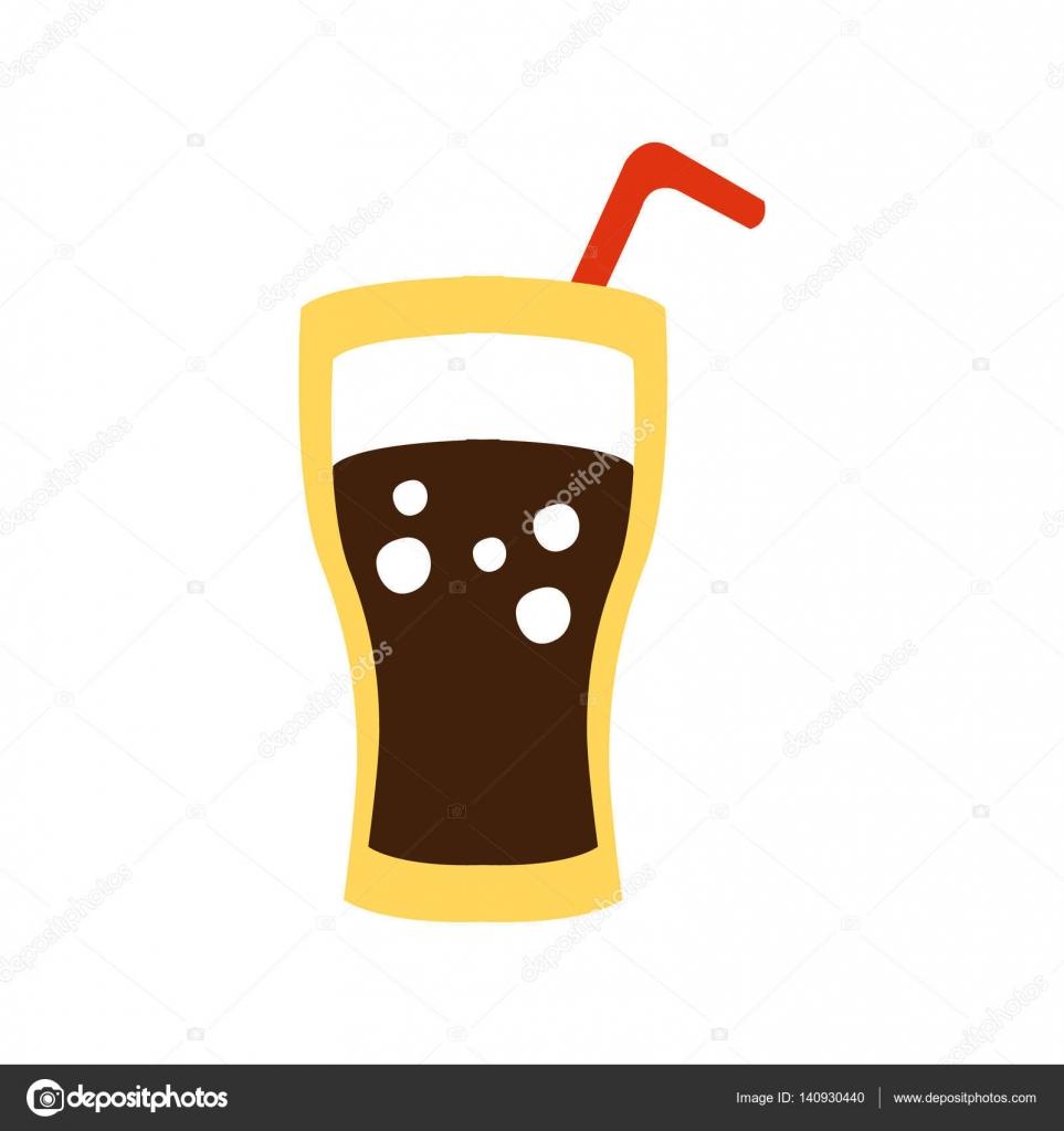ノンアルコール甘いソーダ飲み物およびわらの原始的な漫画アイコン