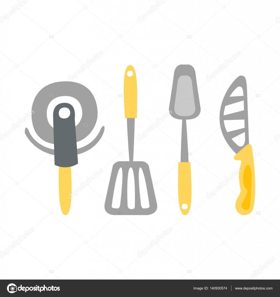 Satz von Küchenutensilien und verschiedene Messer Primitive Cartoon ...