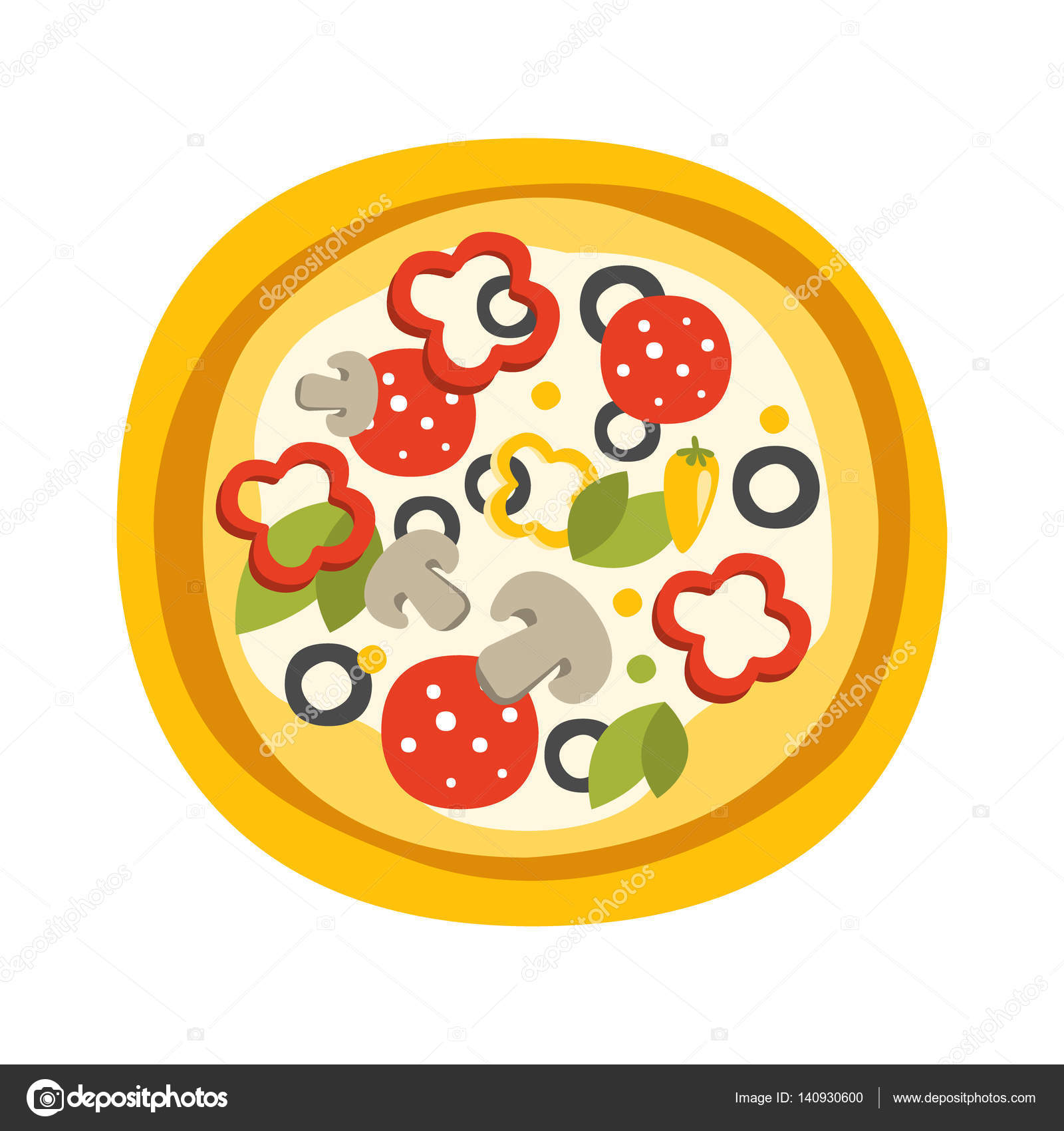 Runde Volle Pizza Mit Pepperoni Primitive Cartoon Ikone, Teil Von Pizza  Cafe Serie Von Clipart