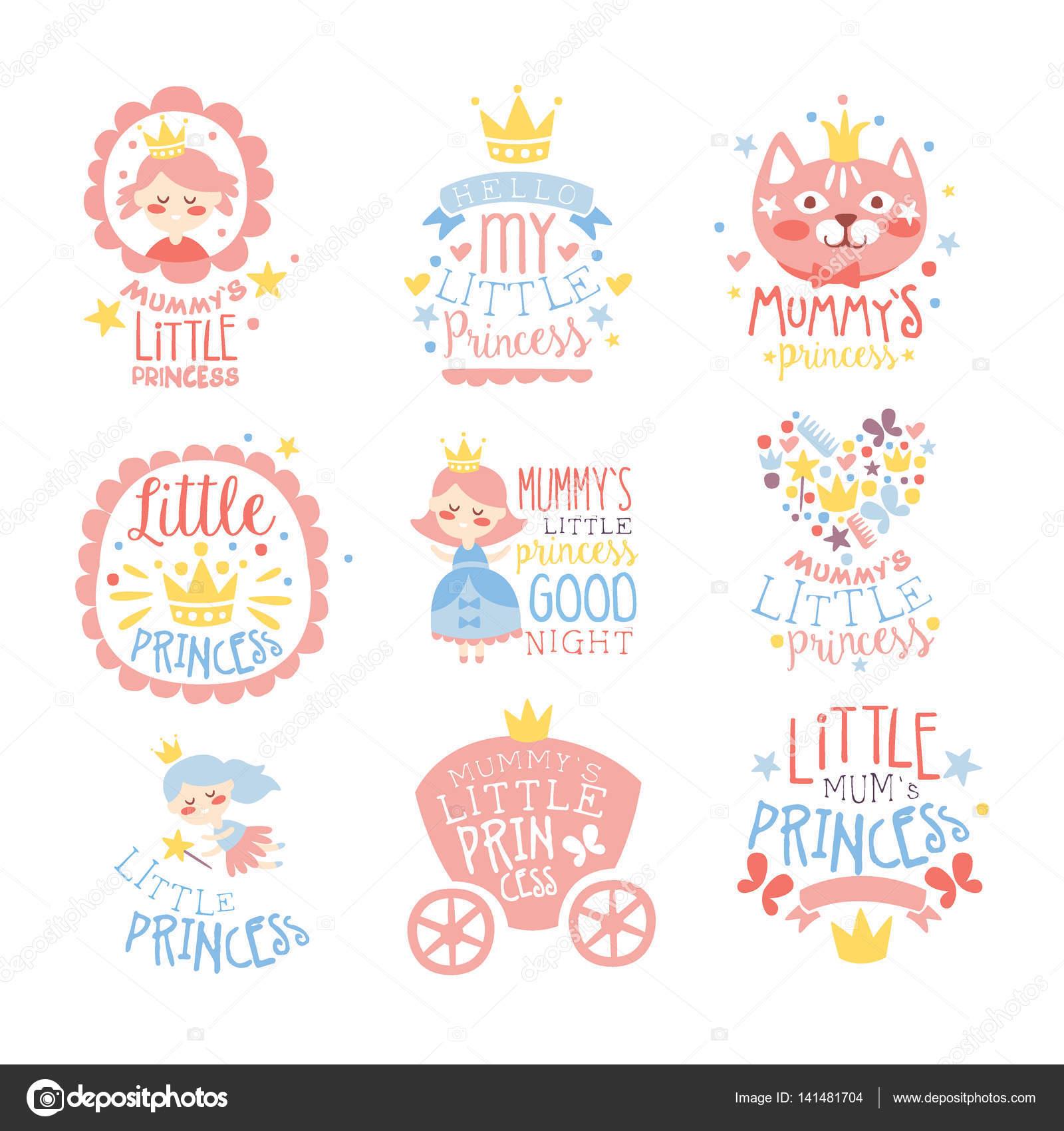 pequea princesa juego de impresiones para la habitacin infantil de las nias o plantillas de diseo de ropa en color rosa y azul