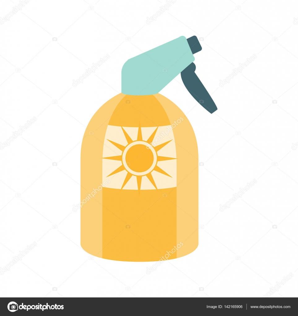黄色のボトルイラストの夏のビーチの休暇のシリーズの一部に日焼け止め