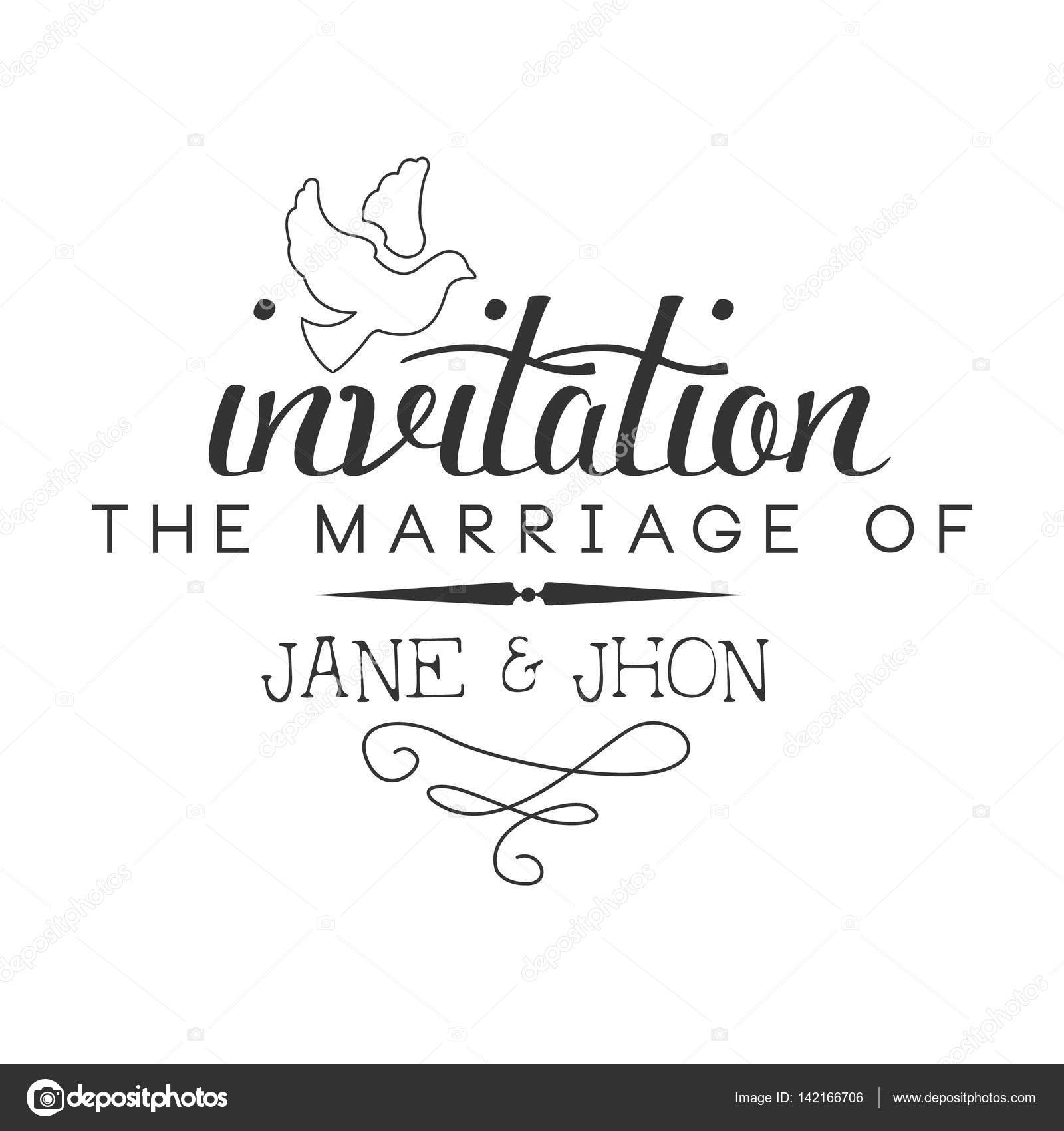 Marriage Black And White Invitation Card Design Template With