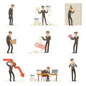 Üzleti nem és kezelő szenvedés veszteség, és hogy a tartozás csoportja, csőd és a cég hiba vektor illusztrációk