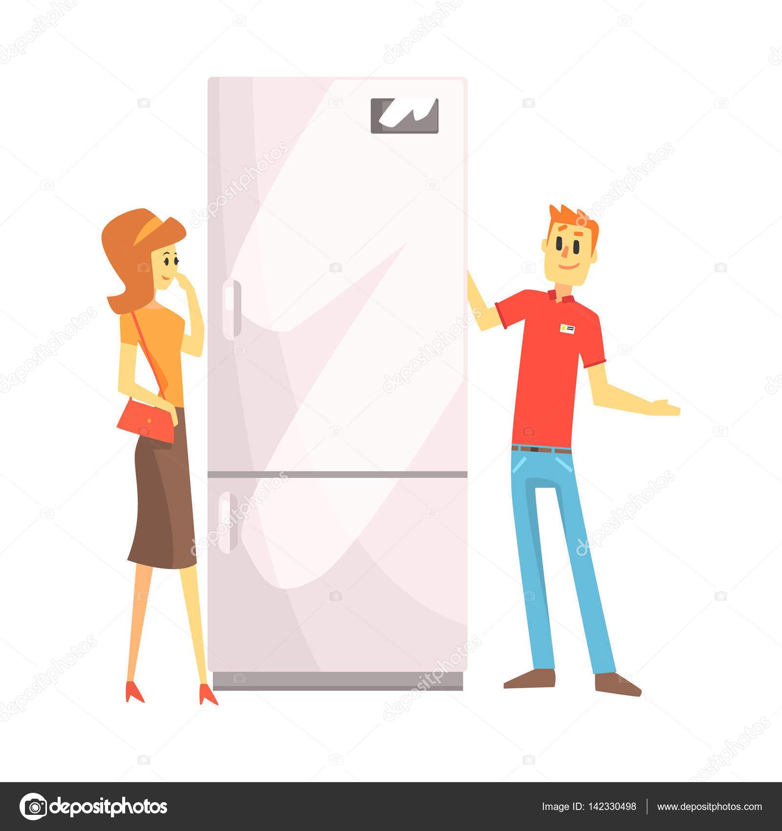 Frau Wahl Kühlschrank mit Hilfe der Verkäuferin, Kaufhaus Shopping ...