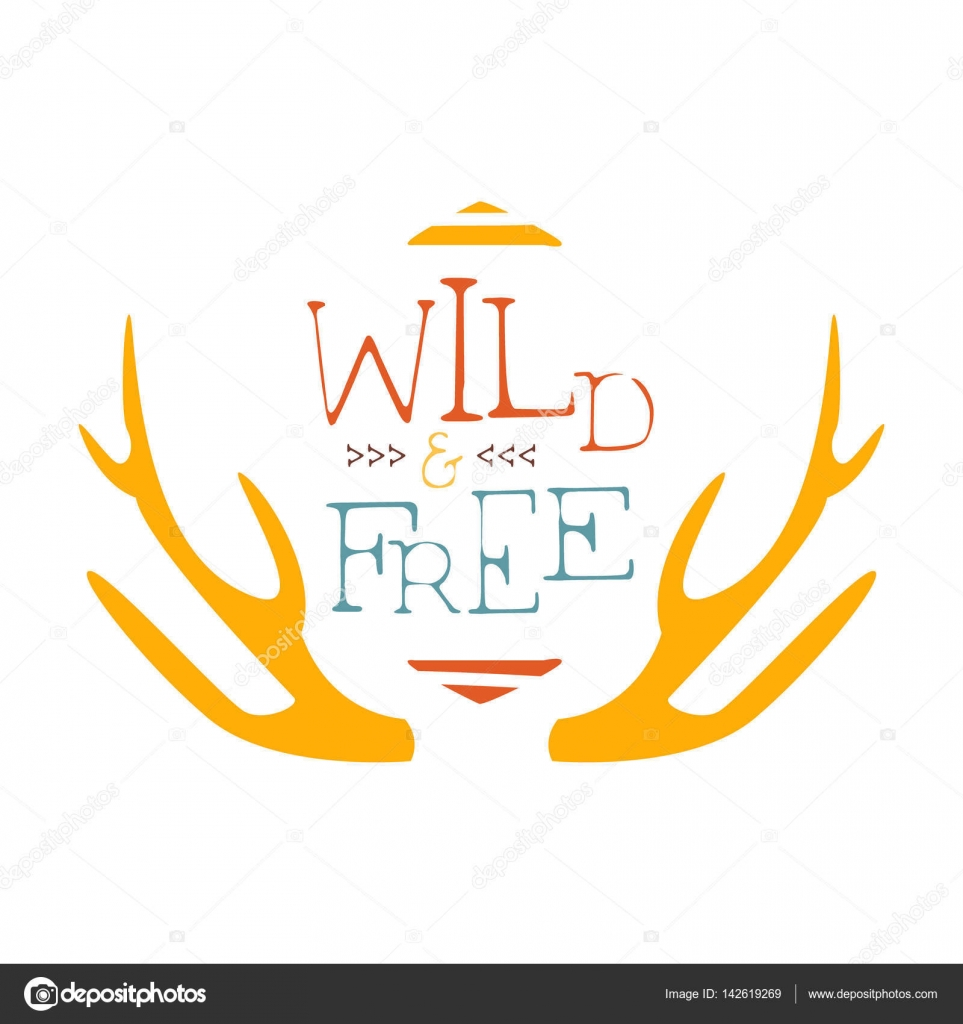 Printable Antlers Pattern Wild And Free Slogan Ethnic Boho Style Element Hipster Fashion Design Template In Blue Yellow And Red Color With Antlers Stock Vector C Topvectors 142619269