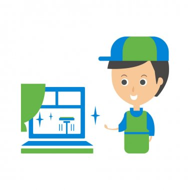 Cleanup Service Worker And Clean Window, Cleaning Company Infographic Illustration