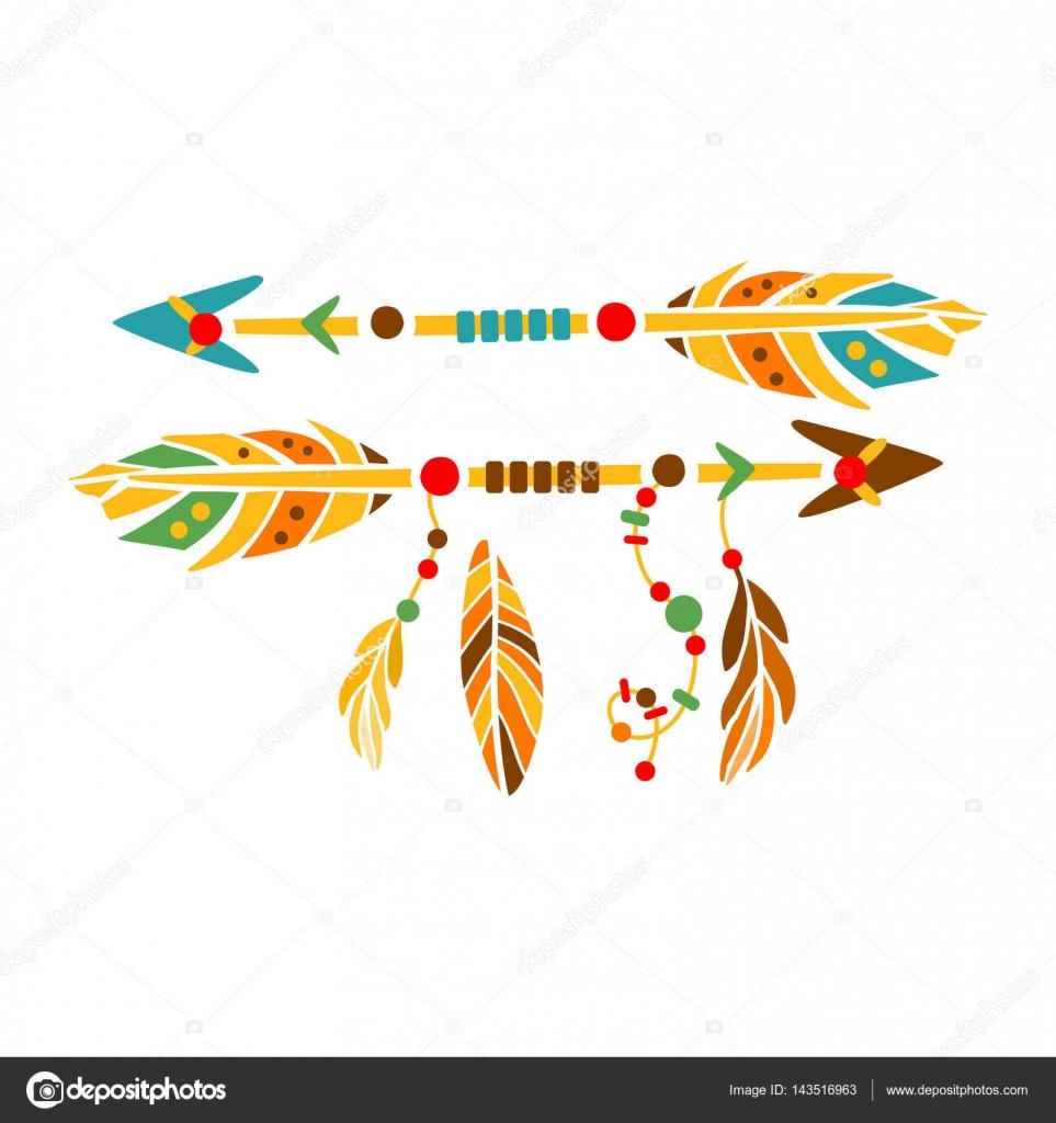 Dos flechas decorativas con plumas, indio nativo cultura inspiración ...