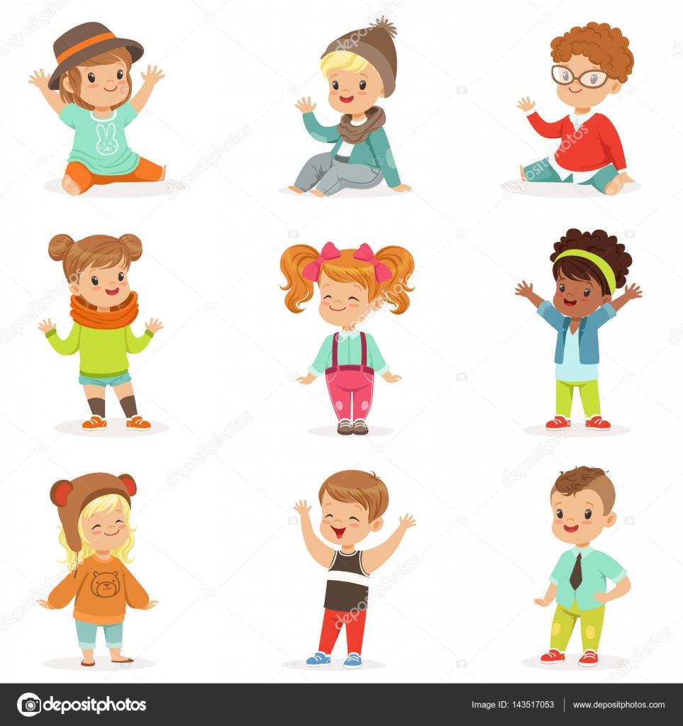 子供のイラストのかわいい子供服を着た幼い子供やスタイル — ストック