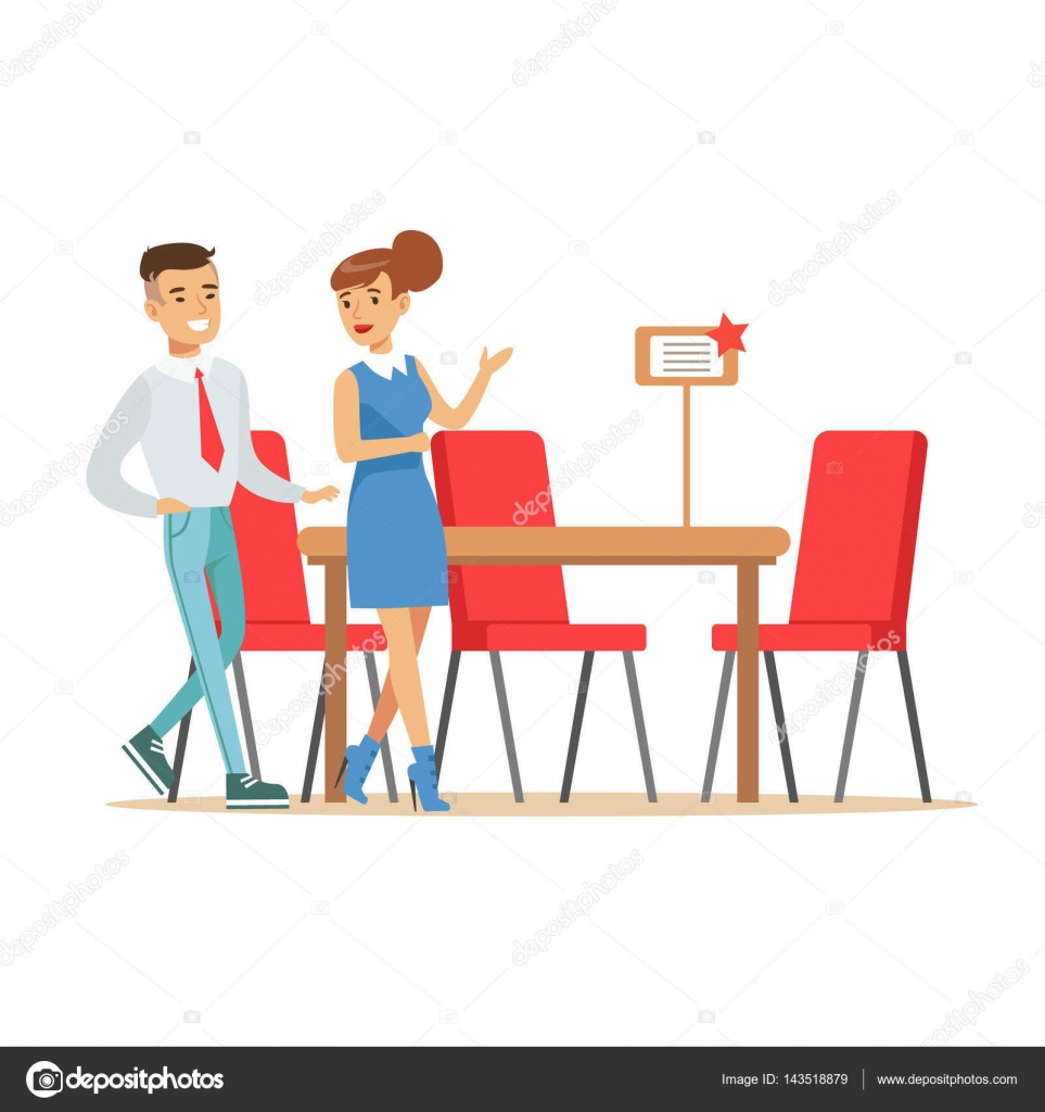 couple buying big dining table and chairs for dining room smiling shopper in furniture shop shopping for house decor elements stock illustration - Buying A Dining Room Table