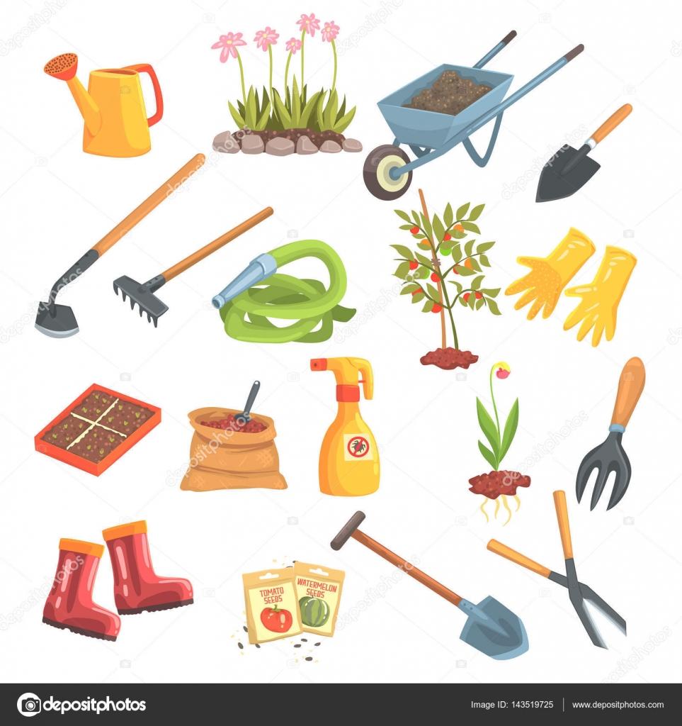 conjunto de equipo de jardineros de objetos necesarios ForObjetos De Jardineria