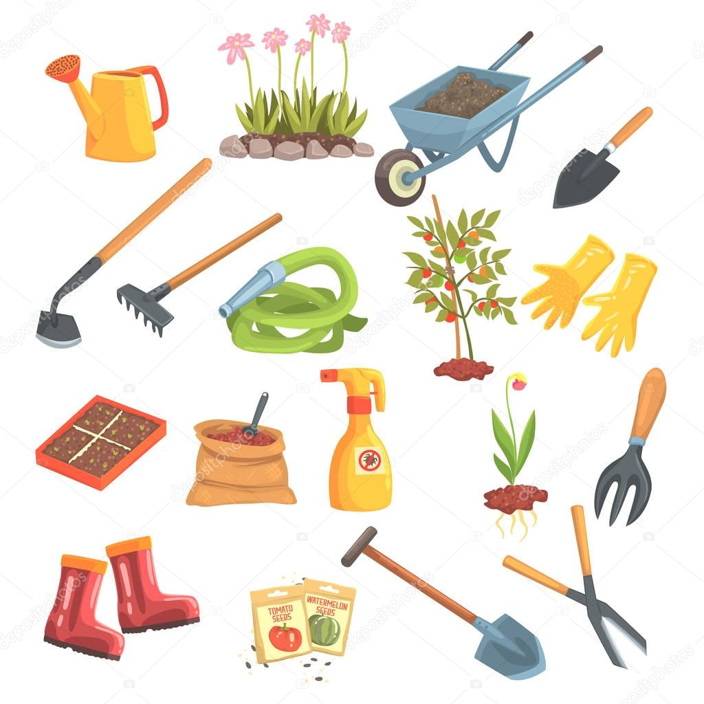 Gardeners Equipment Set Of Objects Needed For Gardening And Farming Isolated Vector Illustrations