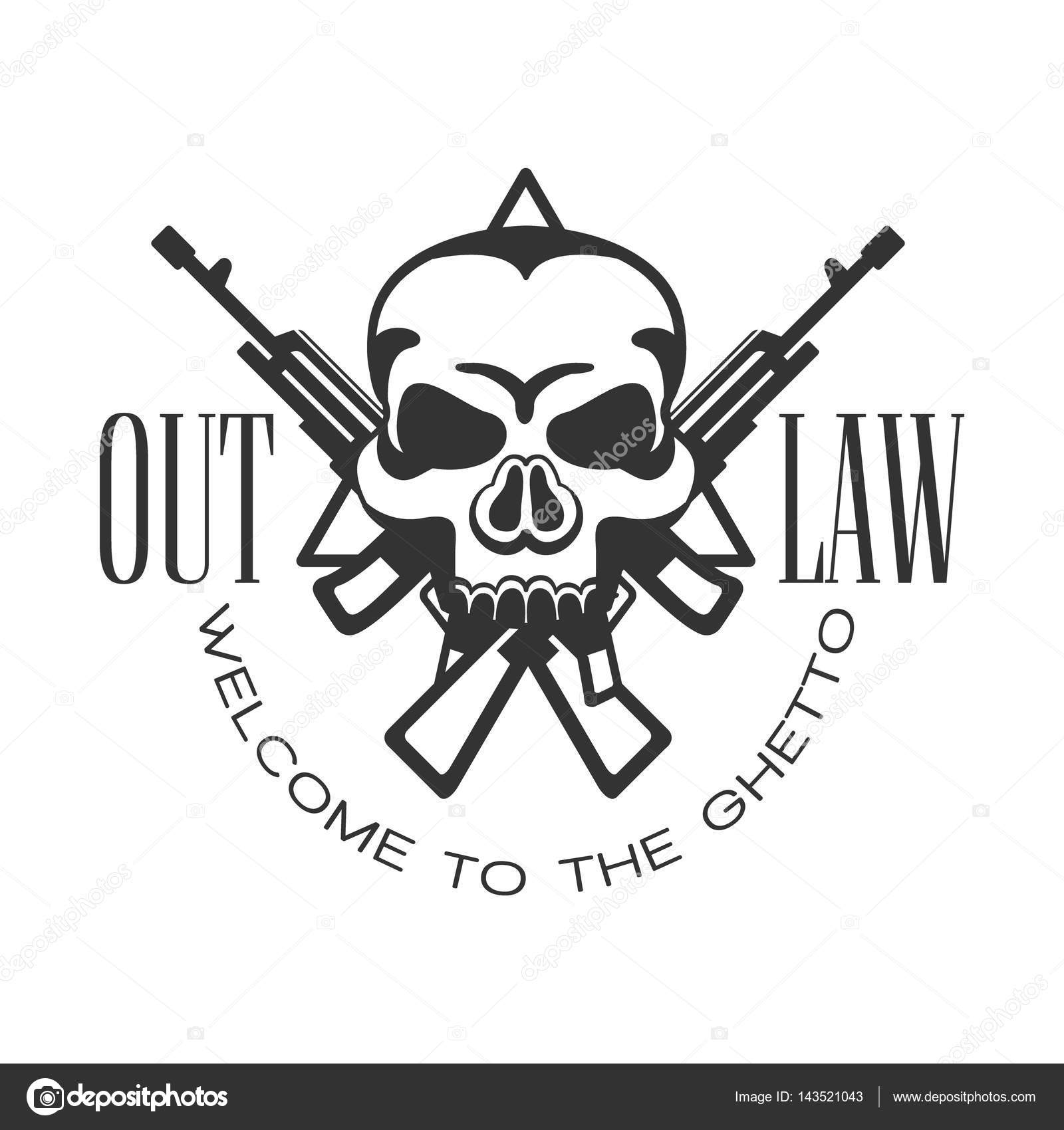 Criminal outlaw street club black and white sign design template criminal outlaw street club black and white sign design template with text crossed guns and scull monochrome vector emblem with ghetto symbols for prints biocorpaavc Images
