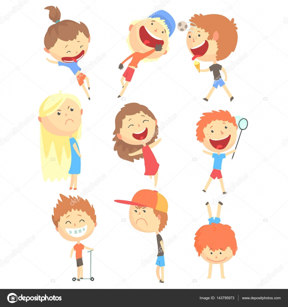 Happy Childhood Vector Illustration Collection With Positive Smiling Children In Summer Clothes By TopVectors