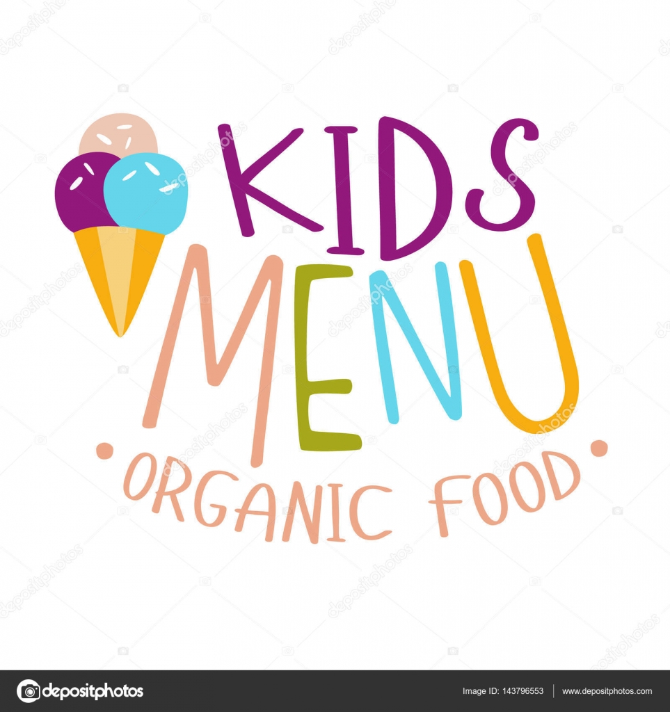 Kids Organic Food, Cafe Special Menu For Children Colorful Promo ...