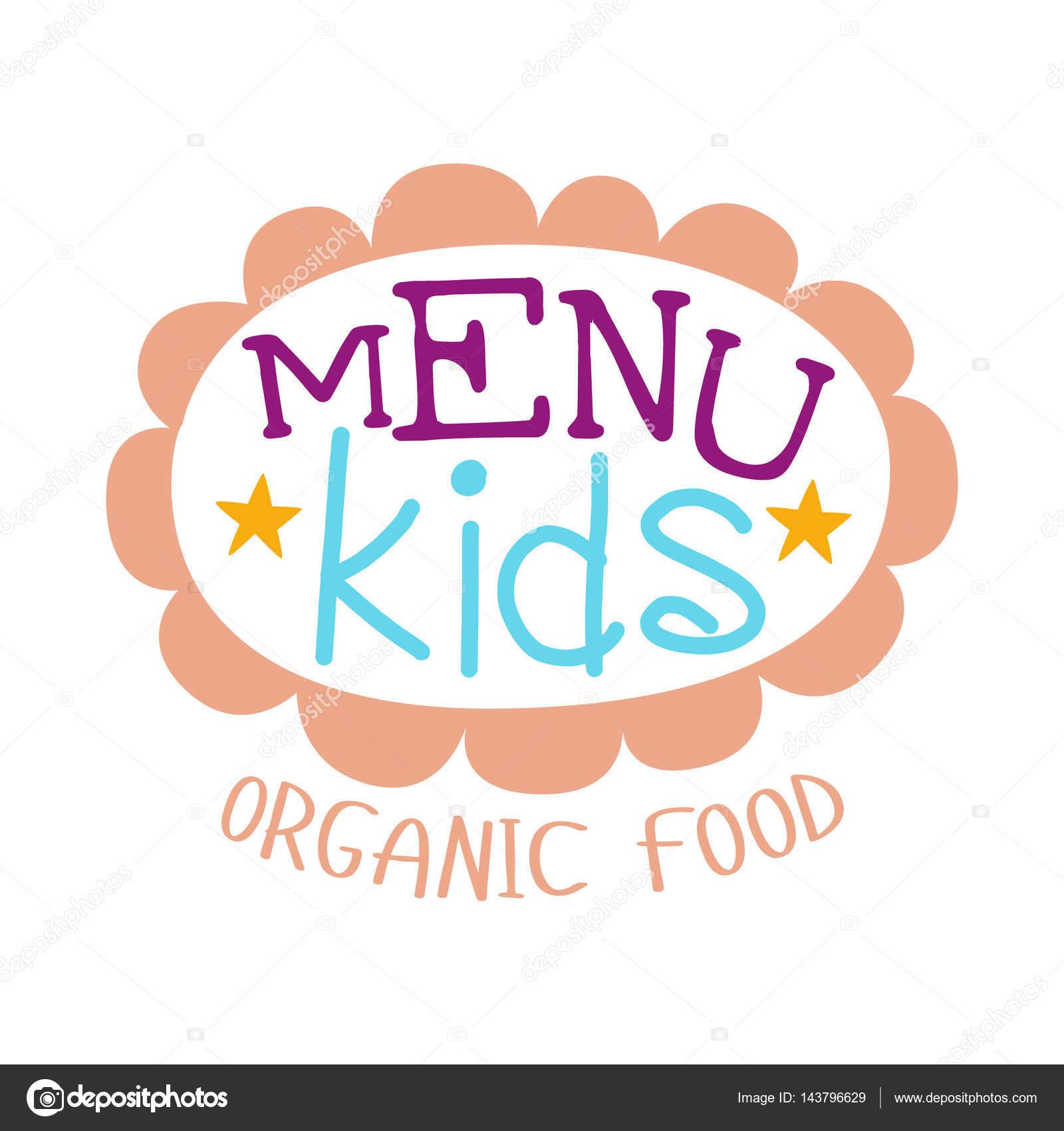 Los niños comida, café menú especial para niños Promo colorido signo ...