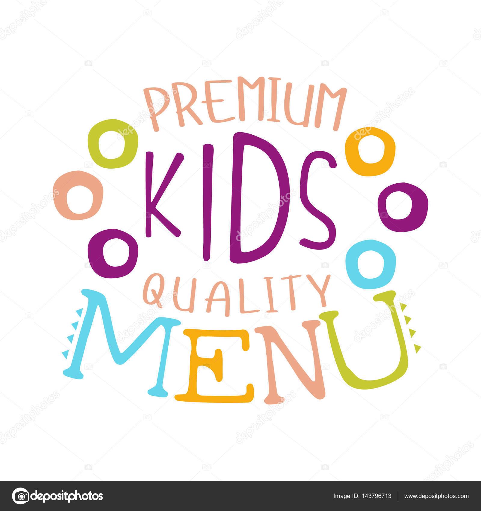 Premium Calidad Niños Comida Café Menú Especial Para Niños