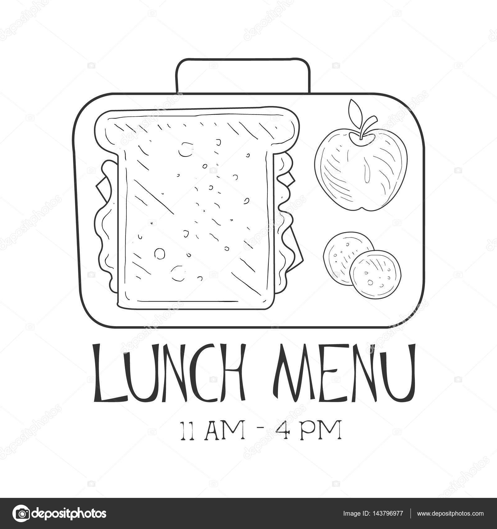 Schule Lunchbox Cafe Lunch Menü Promo anmelden Skizze Stil, Design ...
