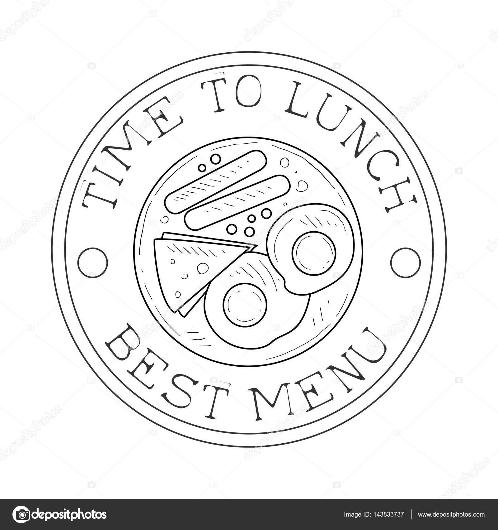 Runden Rahmen Cafe Lunch Menü Promo anmelden Skizze Stil mit ...