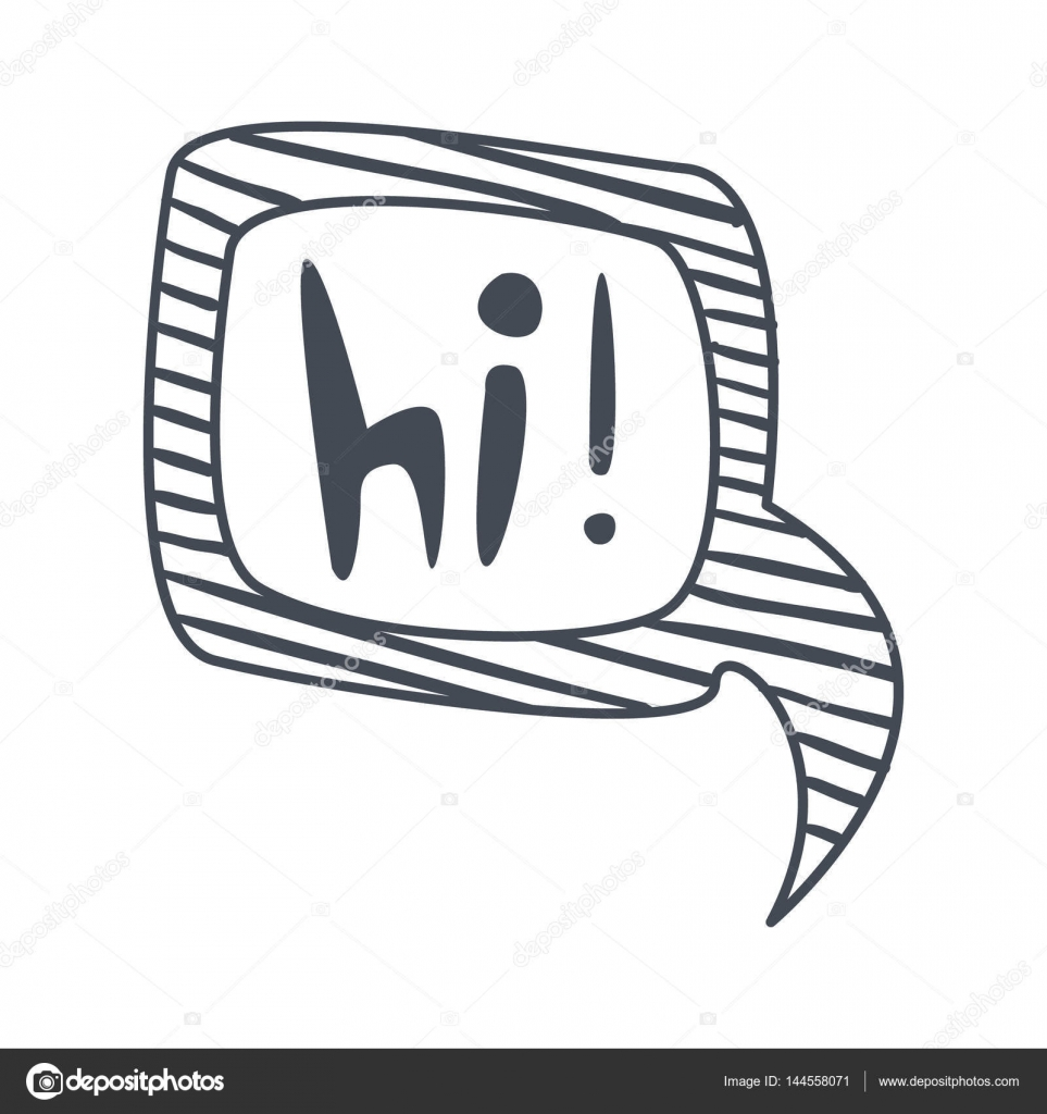 word hi hand drawn comic speech bubble template isolated black and