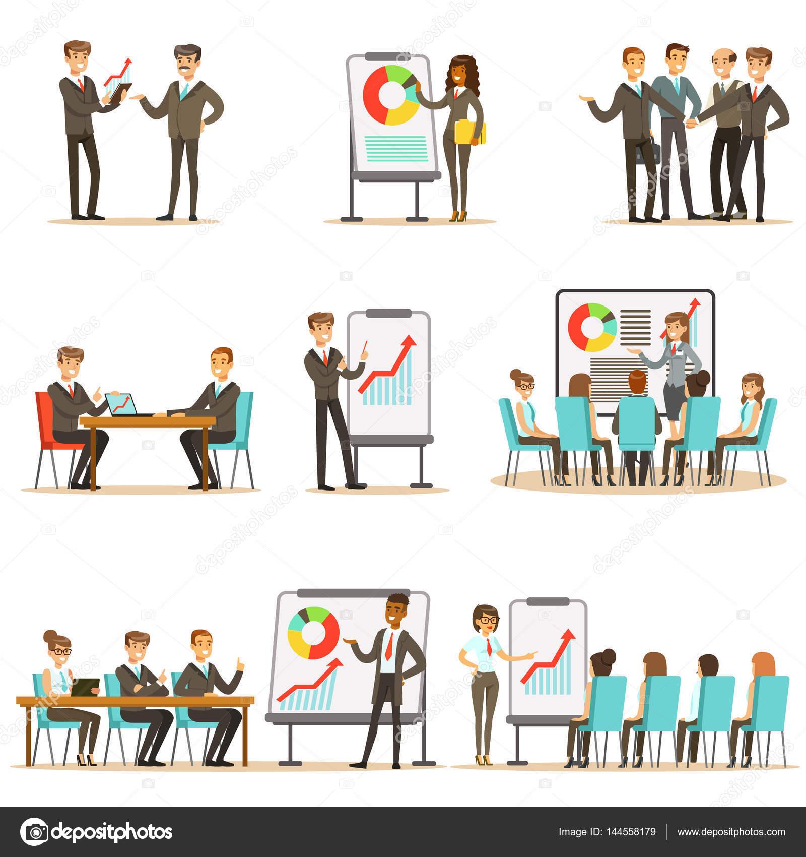Directivos y trabajadores de oficina en clase de negocios ...