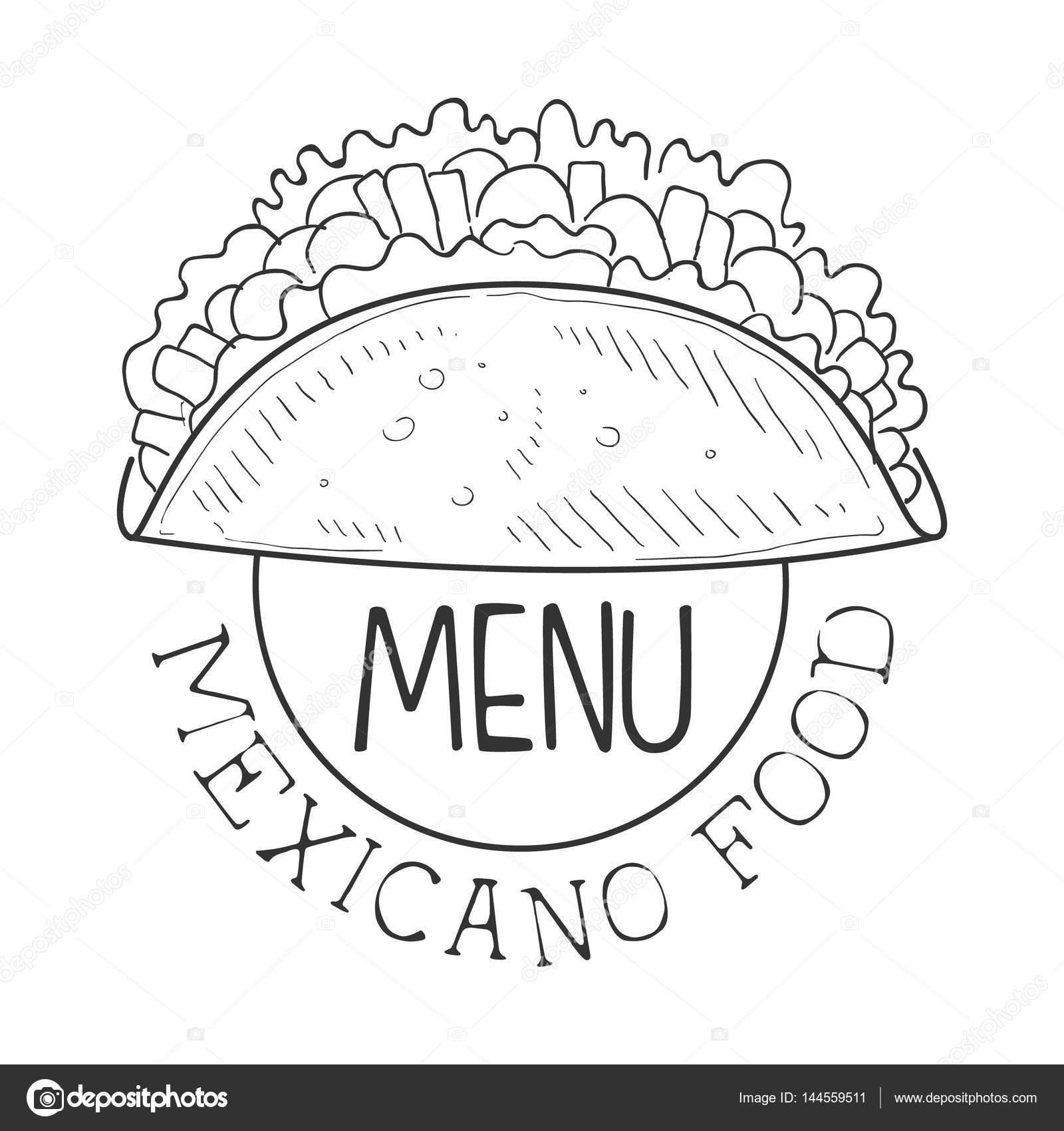 Restaurante comida mexicana menú Promo muestra en estilo boceto con ...