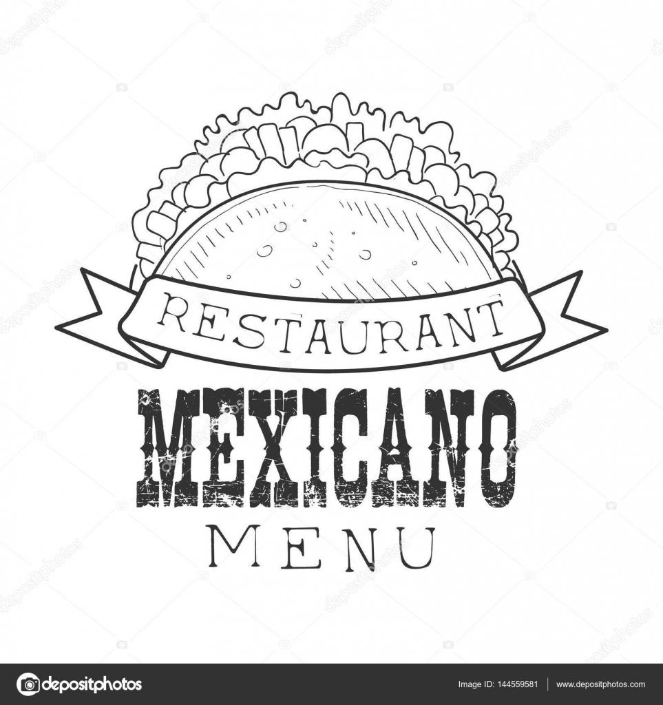 Restaurante comida mexicana Menu Promo sinal no estilo Sketch com ...