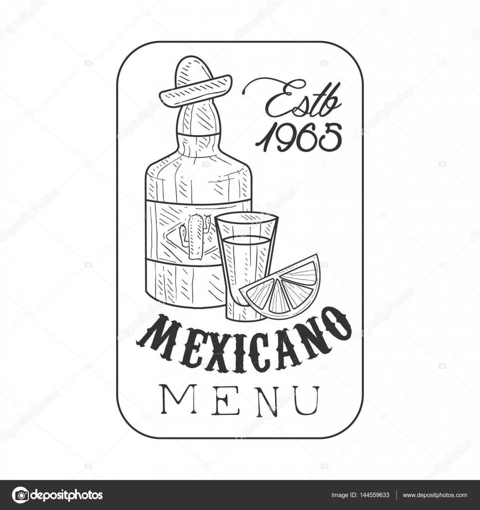 Restaurant-Mexikanisch Essen Menü Promo anmelden Skizze Stil mit ...