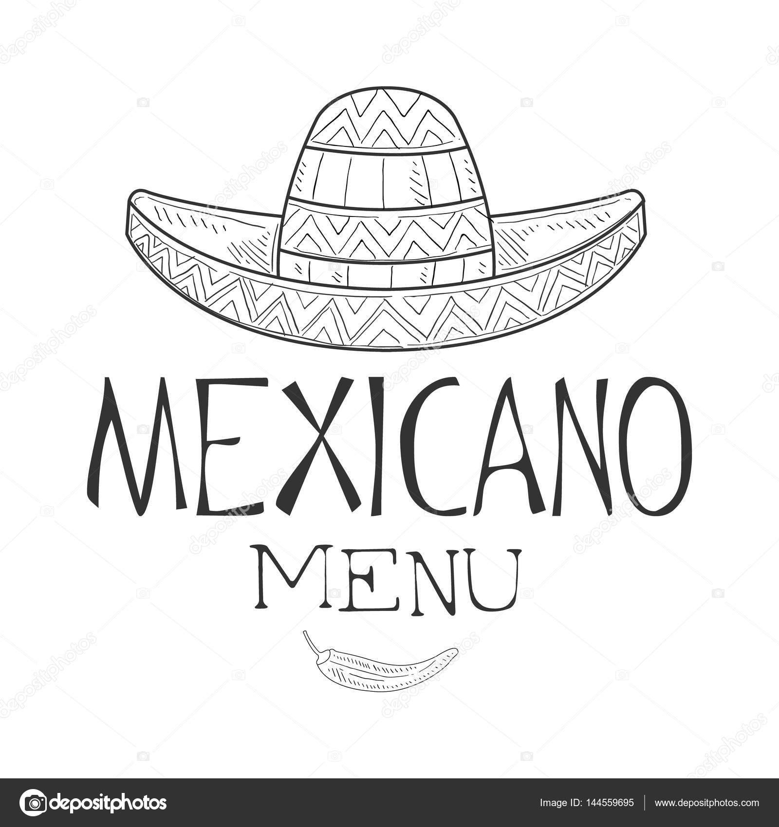 c06901be73b0a Restaurante mexicano comida menú Promo muestra en estilo boceto con Sombrero  sombrero y pimienta de Chile