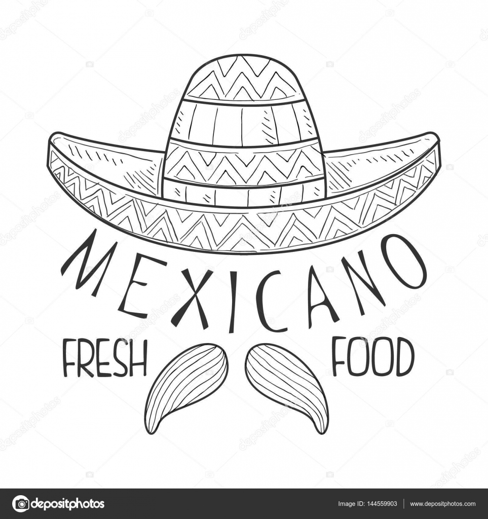 Restaurant Mexican Fresh Food Menu Promo Sign In Sketch Style With Sombrero  And Mariachi Moustache b78a959d5c8