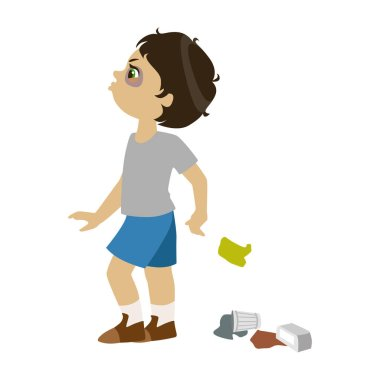 Boy Littering, Part Of Bad Kids Behavior And Bullies Series Of Vector Illustrations With Characters Being Rude And Offensive
