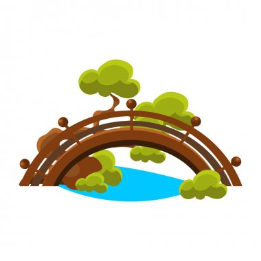 Bridge Over Blue Stream Bonsai Miniature Traditional Japanese Garden Landscape Element Vector Illustration