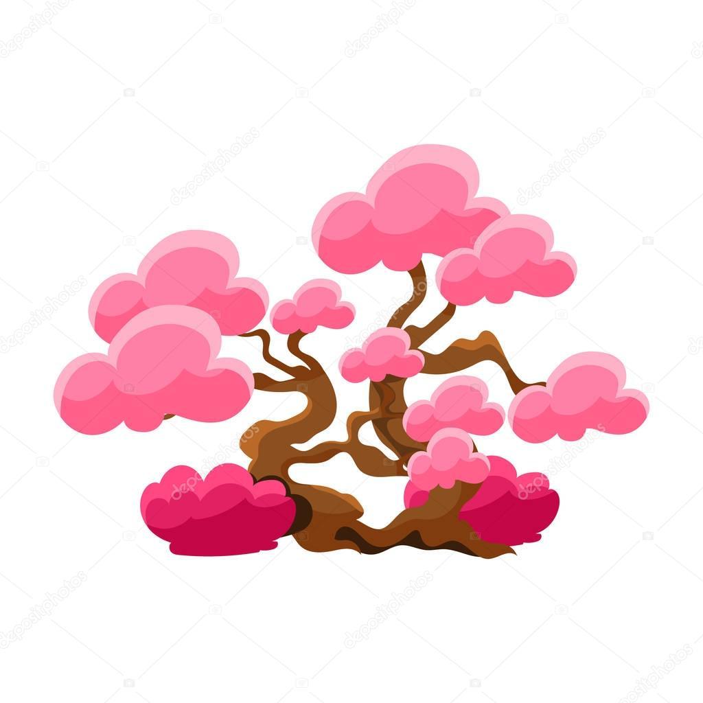 Pink Tree Bonsai Miniature Traditional Japanese Garden Landscape Element Vector Illustration