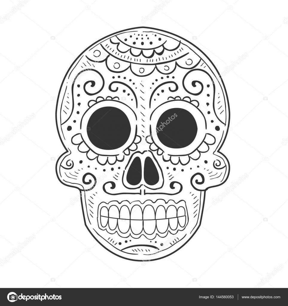 Tradicional Mexicana Pintado Scull Símbolo De Vacaciones De Día De