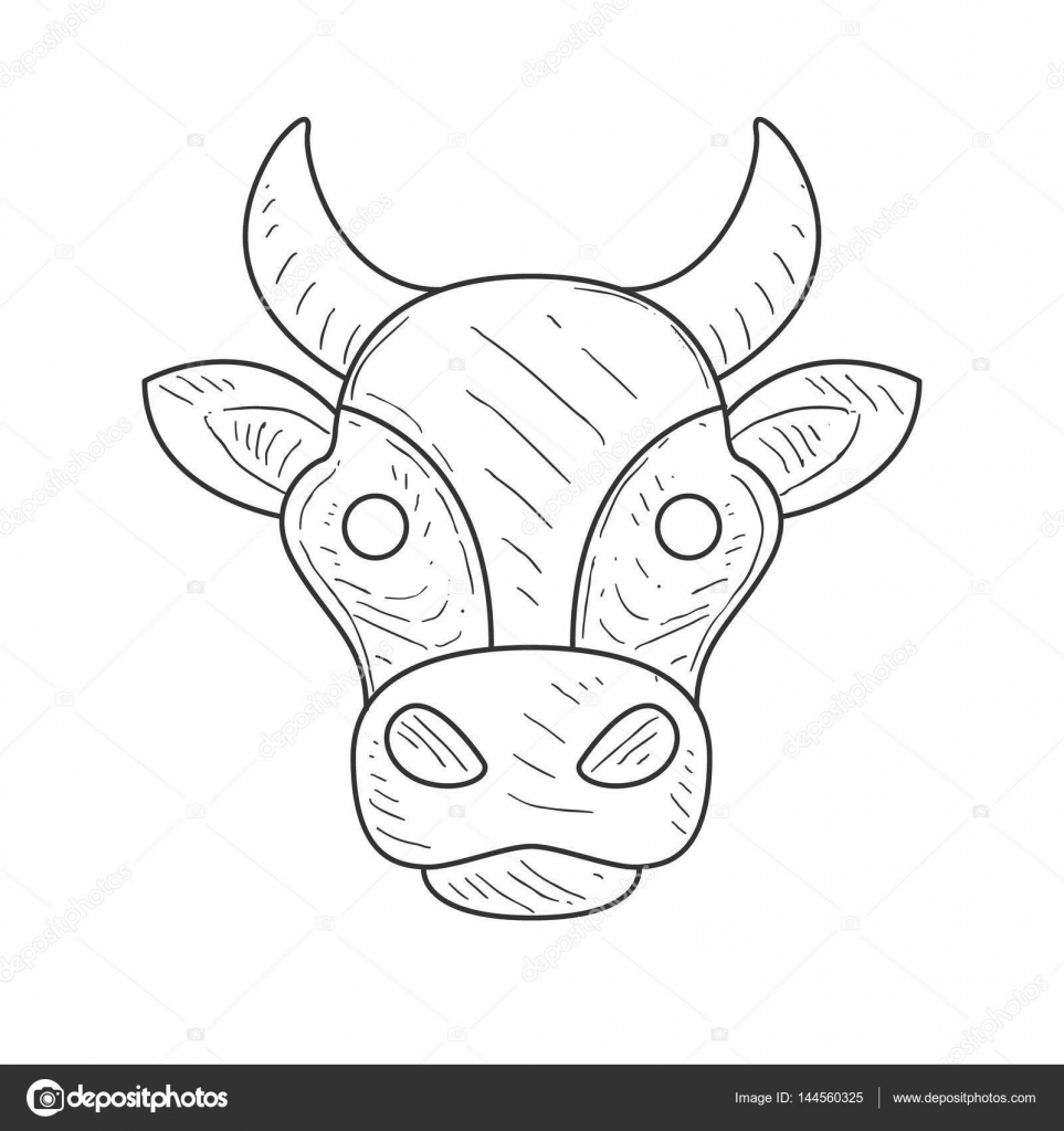 Croquis Au Crayon Avec Isolé Les Vaches Tête En Couleur Noir