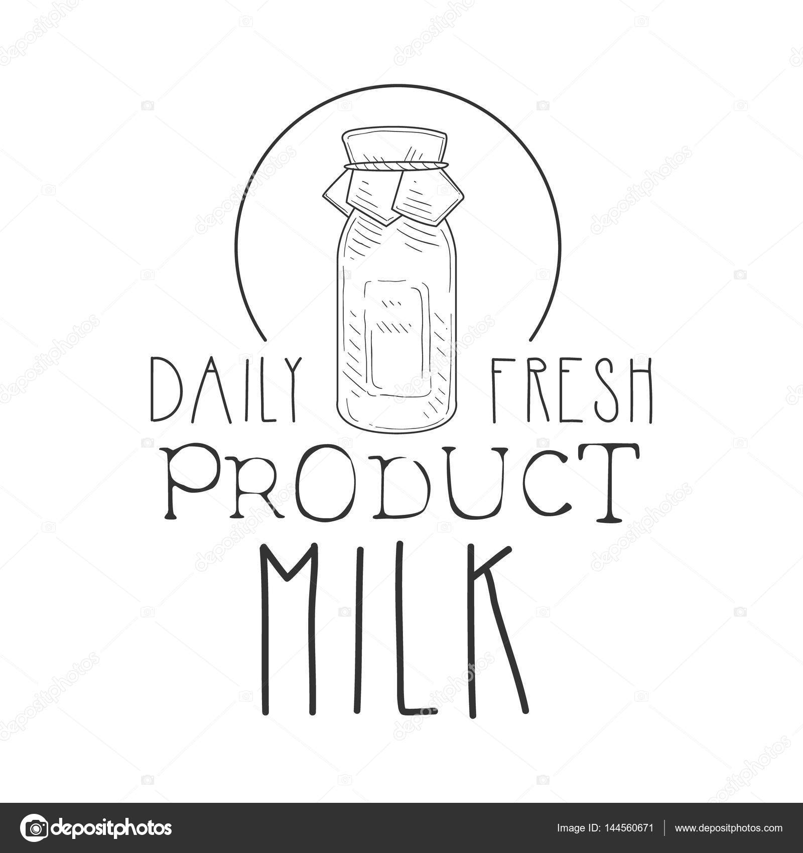 daily fresh milk product promo sign in sketch style with milk bottle