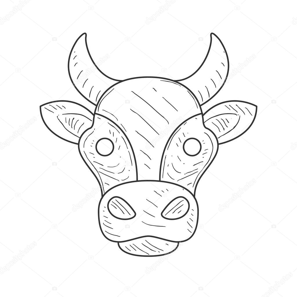 Pencil sketch with isolated cows head in black and white