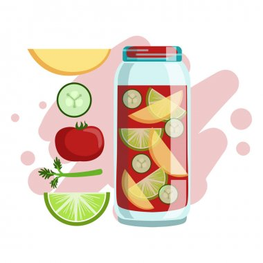 Apple, Cucumber, Tomato And Lime Smoothie, Non-Alcoholic Fresh Cocktail In A Glass And The Ingredients For It Vector Illustration