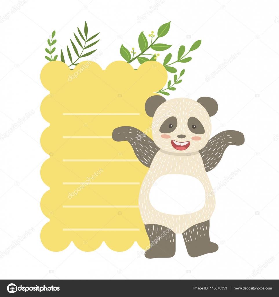 Panda con papel rayado y plantas Vector pegatina, plantilla San ...