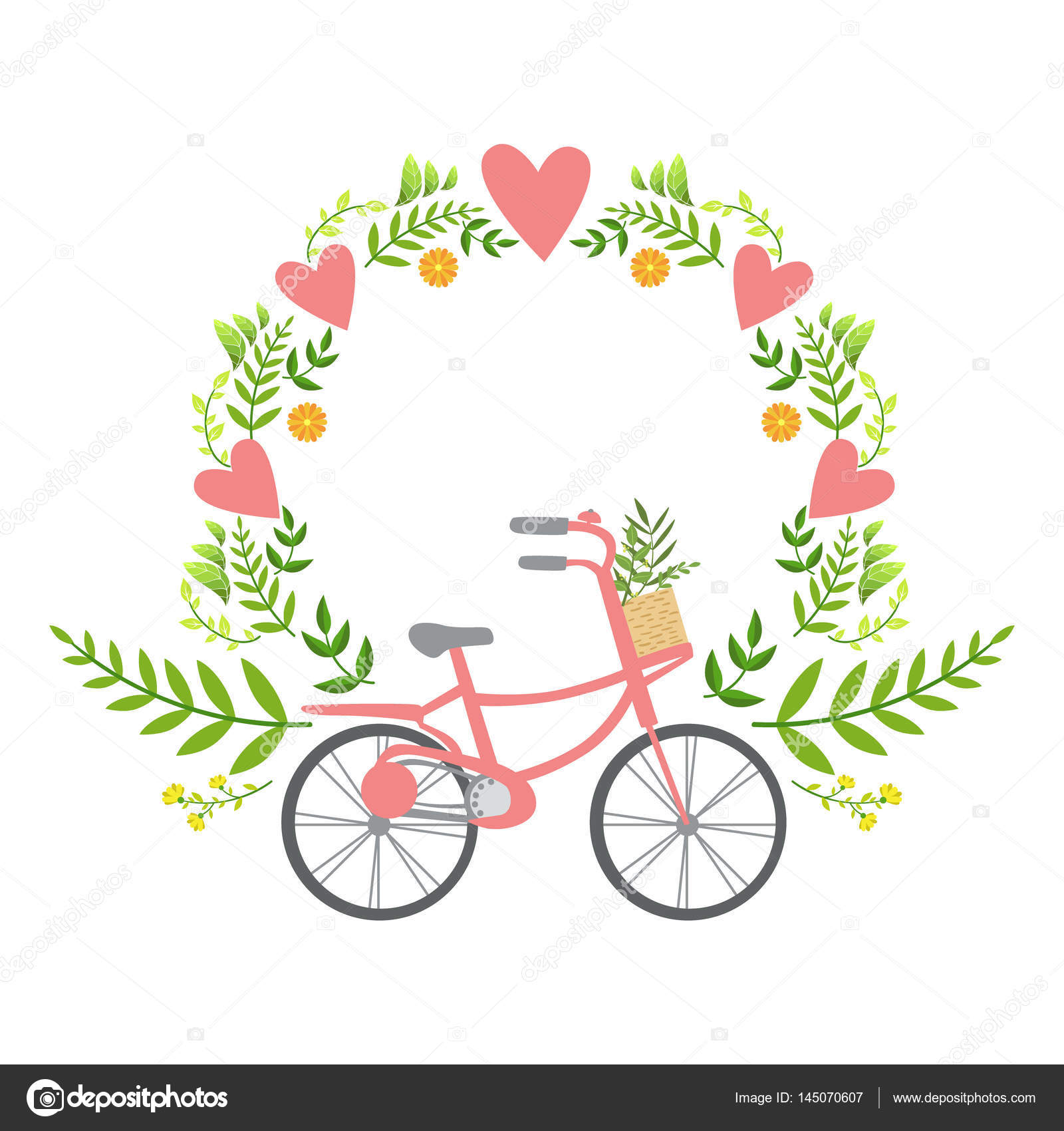 floral frame with hearts vector sticker template st valentines day