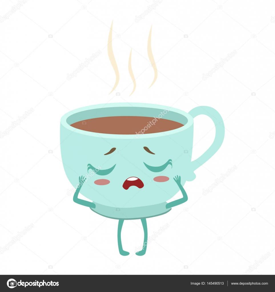 Taza de Anime lindo café caliente humanizado carácter Emoji Vector ...
