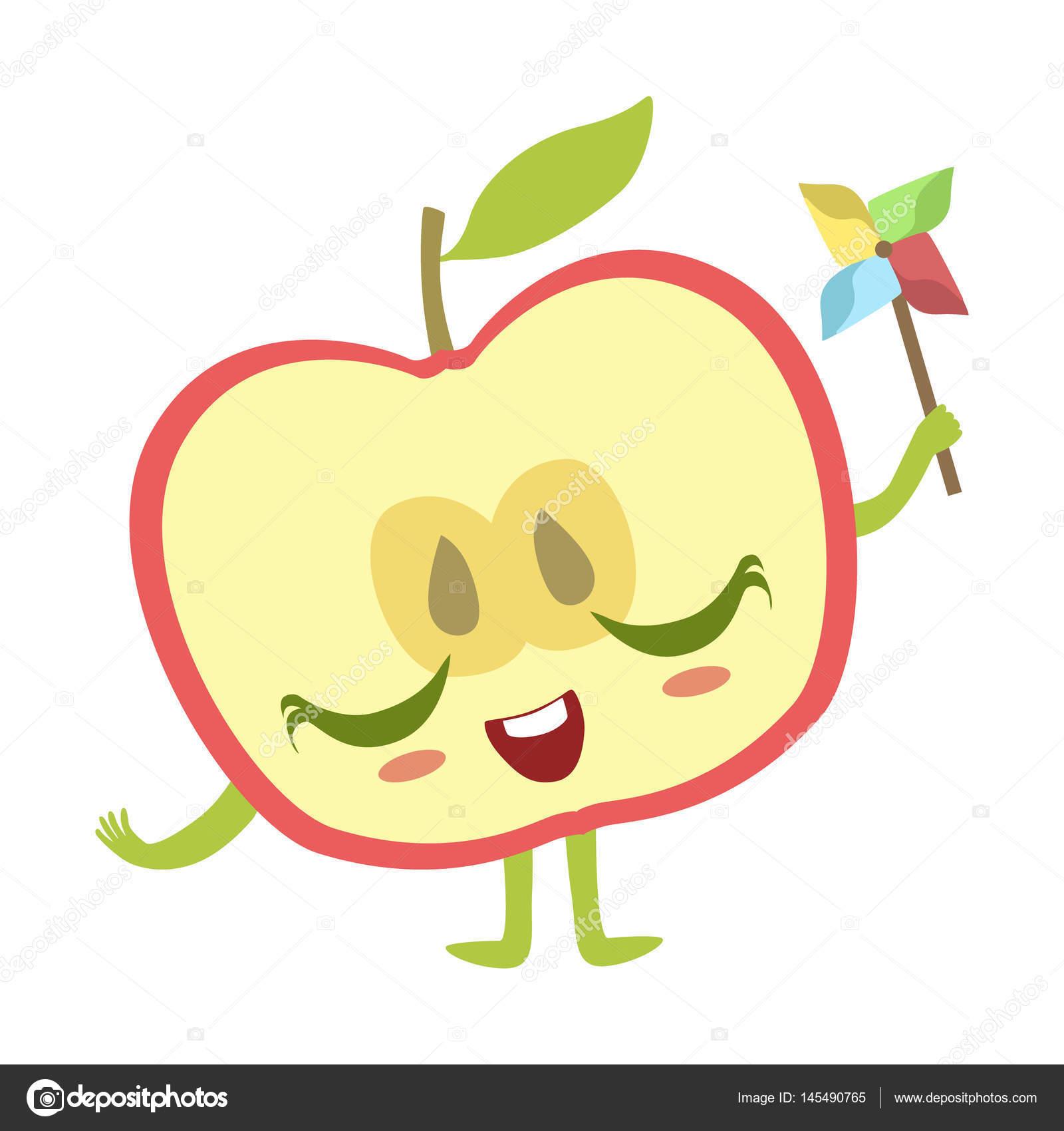 half of apple with windmill toy cute anime humanized cartoon food