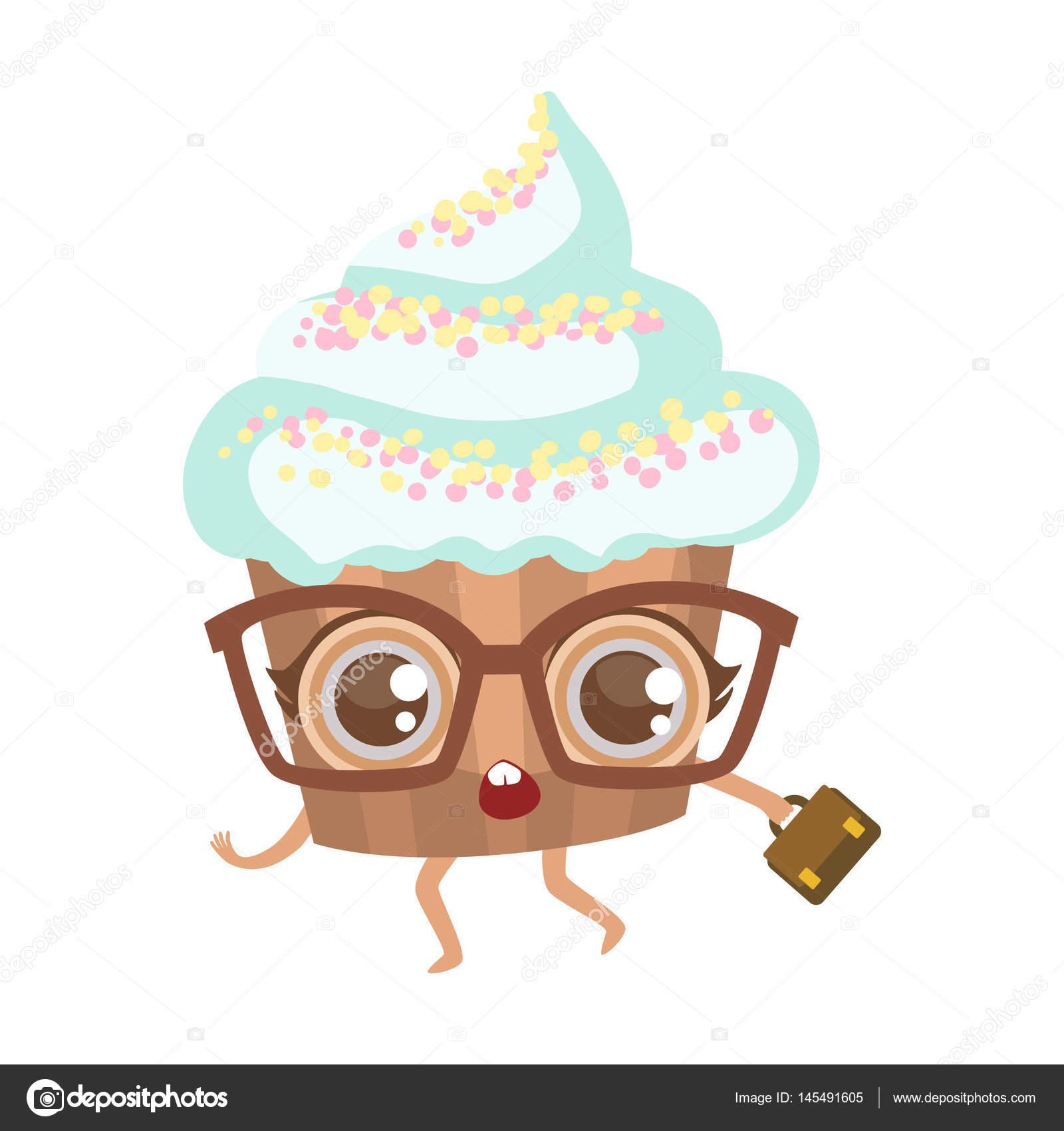 スーツケースかわいいキャラクター グラスでカップケーキ ヒト漫画食べ物